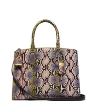 Michael Kors Casey Large Hand Painted Python Satchel Leaf Combo