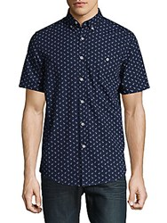Report Collection Cotton Casual Button Down Shirt Navy