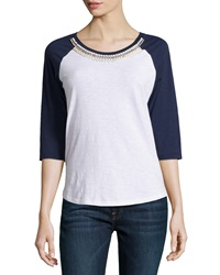 Dex Embellished Raglan Tee White Navy