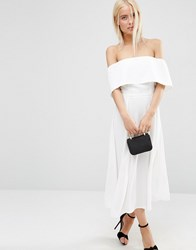 Asos Soft Off The Shoulder Bardot Midi Prom Dress White