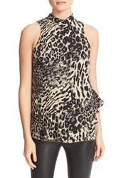 Parker Women's Rozlynn Animal Print Ruffle Tiered Silk Top