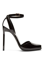 Saint Laurent Edie Square Toe Patent Leather Sandals Black