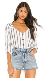 Sanctuary Modern Summer Button Front Top In White. Still Life Stripe