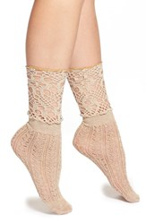 Women's Free People 'Blanket' Crochet Ankle Socks Beige Oatmeal