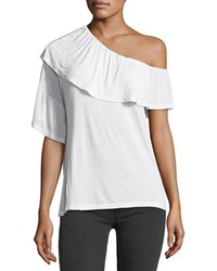 Paige Pax One Shoulder Ruffle Jersey Top White