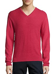 Saks Fifth Avenue Collection Jacquard V Neck Wool And Silk Sweater Coral