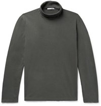 Our Legacy Cotton Jersey Rollneck Sweatshirt Gray Green