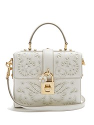 Dolce And Gabbana Soft Embroidered Leather Cross Body Bag White