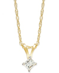 Macy's Princess Cut Diamond Pendant Necklace In 10K Gold 1 10 Ct. T.W.