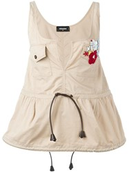 Dsquared2 Sequin Embroidery Top Nude And Neutrals