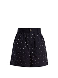 Jupe By Jackie Elbrus High Rise Floral Embroidered Cotton Shorts Navy White