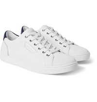 Dolce And Gabbana Rubberised Textured Leather Sneakers White