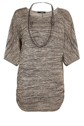 Quiz Stone Foil Batwing Sleeve Top Brown