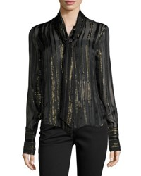 Frame Tie Neck Metallic Stripe Blouse Noir Lurex Stripe