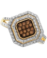 Wrapped In Love White And Brown Diamond Ring 14K Gold 1 2 Ct. T.W. Yellow Gold
