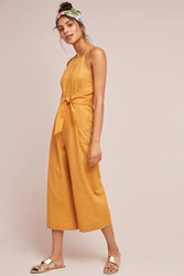 Greylin Tied Linen Jumpsuit Yellow