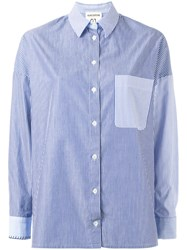 Erika Cavallini Striped Chest Pocket Shirt Blue