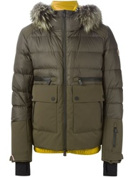Moncler Grenoble Coyote Fur Trim Padded Jacket Brown