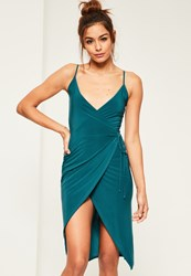 Missguided Teal Slinky Wrap Midi Dress