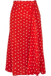 Miu Miu Printed Silk Crepe De Chine Midi Skirt Red