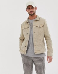 Pull And Bear Denim Jacket In Stone Stone
