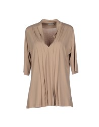 Henry Cotton's Topwear T Shirts Women Khaki