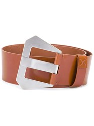 Maison Martin Margiela Oversized Buckle Belt Brown