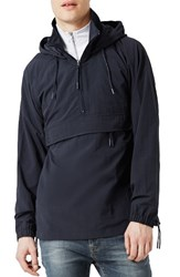Topman Men's Hooded Anorak Navy Blue