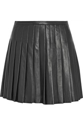 Belstaff Kaddington Pleated Leather Mini Skirt Black