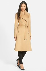 Women's Diane Von Furstenberg Long Wool Blend Wrap Coat Camel