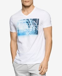 Calvin Klein Men's Big And Tall Graphic Print T Shirt White