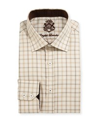 English Laundry Plaid Cotton Dress Shirt Tan