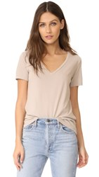 Three Dots Classic V Neck Tee Beige Sand