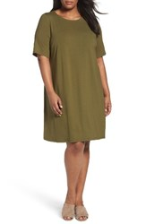 Eileen Fisher Plus Size Women's Stretch Jersey Shift Dress Olive