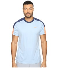 Nike Court Tennis Shirt Blue Grey Midnight Navy Bright Mango Men's T Shirt