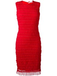 Givenchy Ruffle Embellished Pencil Dress Red