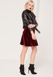 Missguided Frill Hem Velvet Mini Skirt Burgundy