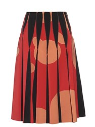 Bottega Veneta Contrast Panel A Line Bonded Skirt Red Multi