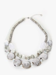 One Button Double Layer Ceramic Bead Necklace Grey