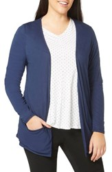 Evans Plus Size Women's Drapey Pocket Cardigan Navy