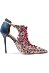 Malone Souliers Montana Cutout Elaphe And Leather Pumps Claret