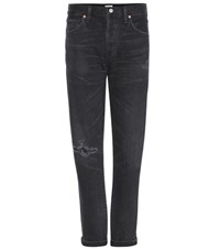 Citizens Of Humanity Liya Distressed High Rise Cropped Jeans Grey