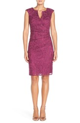 Women's Adrianna Papell Pleated Lace Sheath Dress Plum