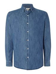 T.M.Lewin Denim Invisible Button Down Casual Shirt Blue