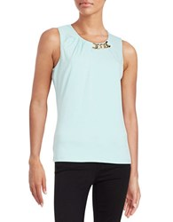 Ivanka Trump Chain Accented Sleeveless Top Glass