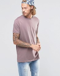 Asos Longline T Shirt With Crew Neck In Purple Violet Grey