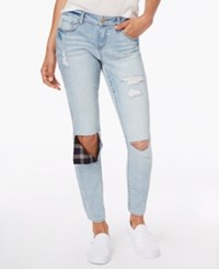 Dollhouse Juniors' Rip And Repair Ankle Skinny Jeans Light Wash Navy Plaid