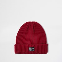 River Island Mens Red Fisherman Beanie Hat