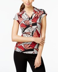 Alfani Printed Cap Sleeve Polo Shirt Only At Macy's