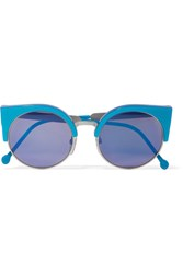 Retrosuperfuture Ilaria Cat Eye Acetate And Silver Tone Mirrored Sunglasses Blue
